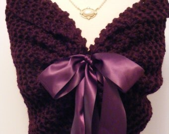 Purple Shawl/Wedding Shawl/Knit Shawl/Bridal Cape/Purple Wedding/Bridal Shawl/Fall Wedding/Wedding Shrug/Bride Bolero/Purple Shrug/Shawl