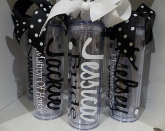 Wedding Tumblers -  Personalized Wedding Tumblers, Bride, Bridesmaid gifts,  Groom, wedding day, mother of the bride, mother of the groom