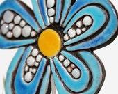 Flower garden art - plant stake - garden marker - garden decor - flower ornament - ceramic flower - dots - turquoise