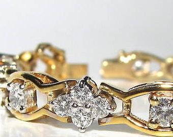3.65Ct Clusters Diamond Bracelet G VS 14KT