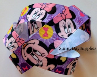 Disney Ribbon, Minnie Mouse Grosgrain Ribbon in Pink and Purple,  1 YARD,  1 inch wide, 100% Polyester,  Disney Products
