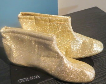1960's Vintage gold Lamee GoGo Boots  81/2 B