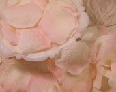 500 BULK Rose Petals Artificial Petals - Ivory and Pink Tipped Bridal Shower Wedding Decoration - Flower Girl Basket Petals - Table Scatter
