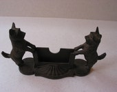 Vintage cast iron 2 terriers dog business card holder for stores, shows, shops, craft fairs