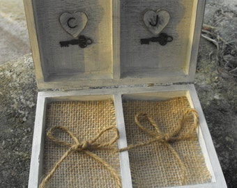 Unique One Of Kind Personalized  Wedding Ring Bearer  Box Vintage Rustic Country Chic  Inspired