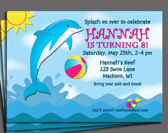 Dolphin Invitation Printable or Printed with FREE SHIPPING - Pool Party, Swim Party, Waterslide
