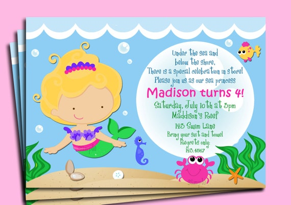 Mermaid Invitation Printable or Printed with FREE SHIPPING You
