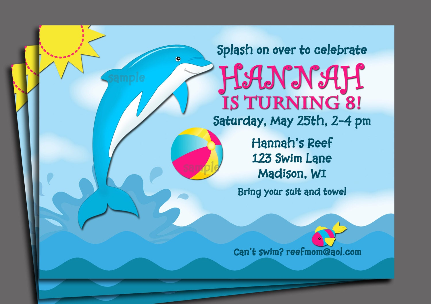 Dolphin Invitation Printable or Printed with FREE SHIPPING