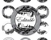 "INSTANT DOWNLOAD - 2.25"" Circles 8.5x11 Editable JPG 101 Ornaments Bottle cap Hairbow Black Grey White Embellishment Envelope Decoration diy"