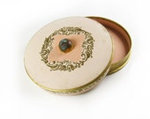 Vintage Compact in Pink and Gold, Marie Antoinette Style - Poudre Compacte.