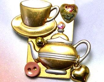 Upcycled Charm Tea Brooch, tea pin, teatime, tea lover, recycled, tea jewelry, tea jewellery, ooak, one of a kind, eco friendly