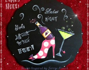 E PATTERN - Ladies Night - Chalkboard Lettering & Fun drinks - Design Inspired by Terrye French and Painted by Sharon Bond