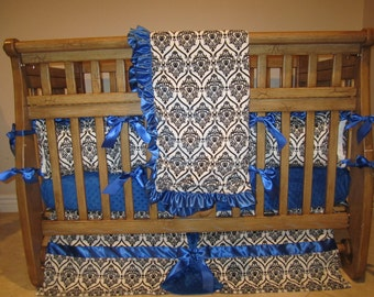 Royal Blue  With White and Black Crown Minky- 4 Piece Set Crib Bedding Set