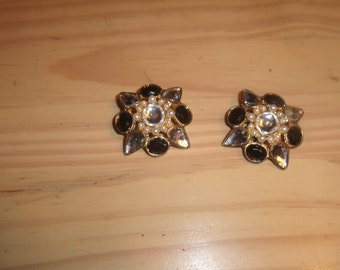 vintage clip on earrings black white rhinestones faux pearls