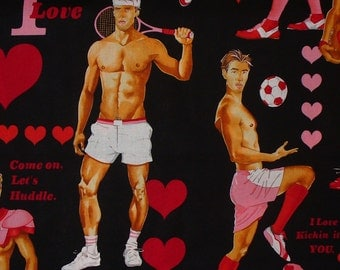 Valentine Hunks, Alexander Henry, Game of Love,  Valentine Fabric, in Black, Oversized Figures, By the Yard