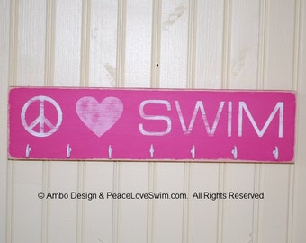 Peace Love Swim Ribbon Display Rack Sign with Hooks - Distressed Wood Wall Decor