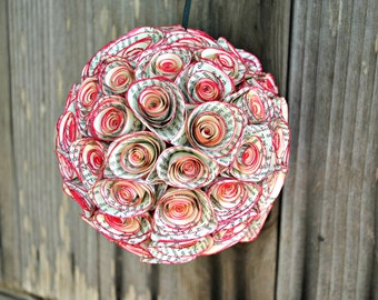 Vintage Paper Rose Flower Ball Floral Kissing Ball Decor MADE TO ORDER
