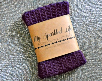 Purple Crochet Boot Cuff, Leg Warmer, Boot Topper, Knee Sock, Handmade