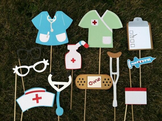 NURSES photo booth props, nursing school photo props, nursing grad party props
