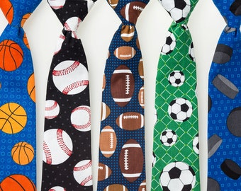 Boys Neckties - Sports Fan - Basketball, Baseball, Football, Soccer, or Hockey
