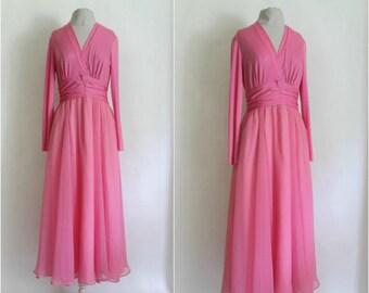 PINK EVENING DRESS Vintage| Vintge Pink Evening Gown Gown| Vintage 1970s  Barbie Pink Toga Style Gown Dress / 70s Pink Bridal Wedding Dress|