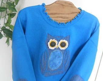Owl Sweatshirt, Sapphire,Upcycled Denim, Elbow Patches, Spring, Easter, Regular and Plus Sizes, Summer,