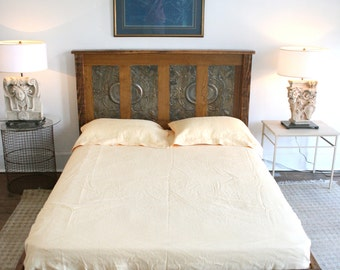 Queen Platform Bed Made from Reclaimed New Orleans Homes and Victorian Ceiling Tin