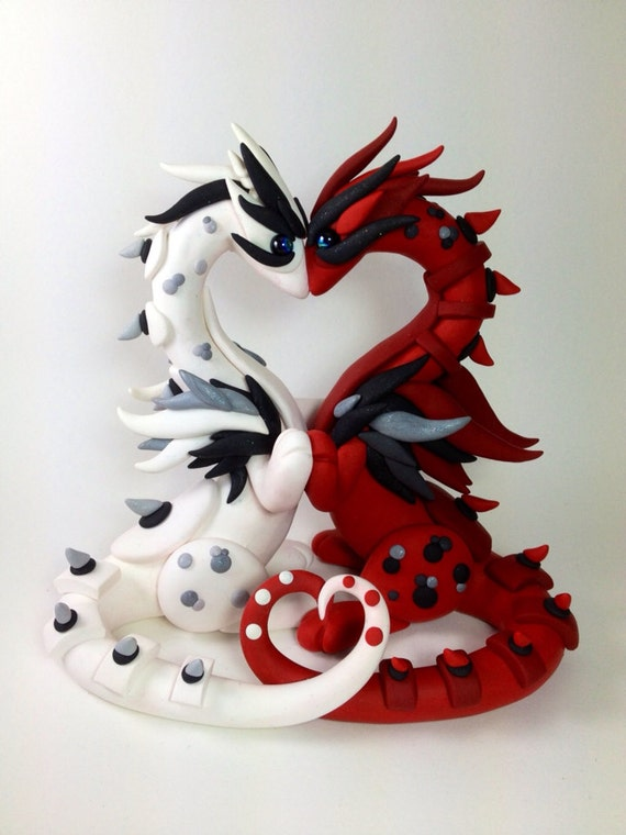 Custom Clay Dragon Wedding Cake Topper Sculpture