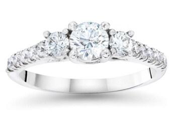 Diamond 3/4CT Three Stone Ring 14K White Gold