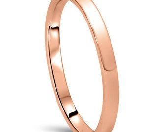 Rose Gold Wedding Band Womens 14K 2MM Dome High Polished Plain Anniversary Ring Size (4-10)