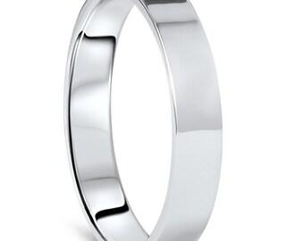 Platinum Ring, Platinum Band, Platinum Wedding Band 950 Platinum Wedding Band 4MM Flat High Polished Plain Anniversary Ring Size (4-10)