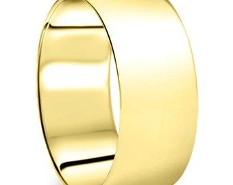 Men's 10k Yellow Gold 9mm Dome Plain Wedding Band High Polish