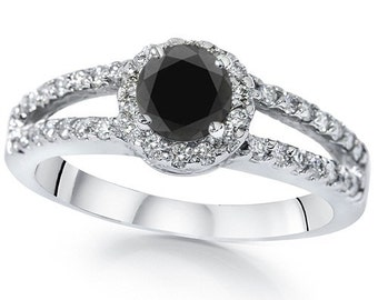 Black Diamond Engagement Ring, Halo Diamond Engagement Ring, 1 Carat Black Diamond Vintage Engagement Ring, White Gold Antique Black Diamond