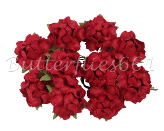 25 Handmade Mulberry Paper Flowers Red Wedding Roses Code SM - 101