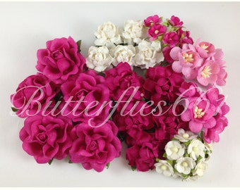 45 Handmade Mulberry Paper Flowers Mixed Sizes of Hot Pink Wedding Roses