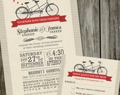 25 Printed Bicycle for Two Wedding Invitations with RSVP cards and Envelopes