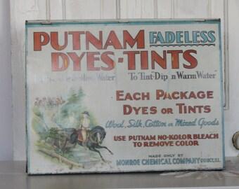 Vintage Putnam Dye Tin... Putnam Dyes - Tints Display Store Tin / Box