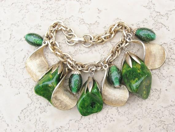green bakelite charm bracelet
