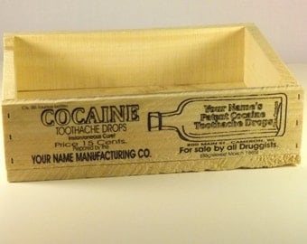 Cocaine Medicane Crate,Personalized , Vintage Style