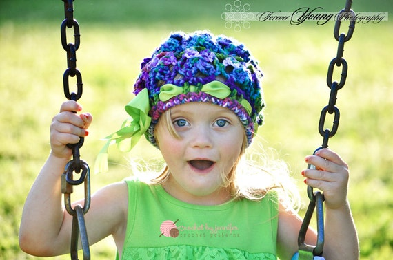 Crochet Pattern for Butterfly Garden Beanie Hat - 6 sizes, baby to adult - Welcome to sell finished items