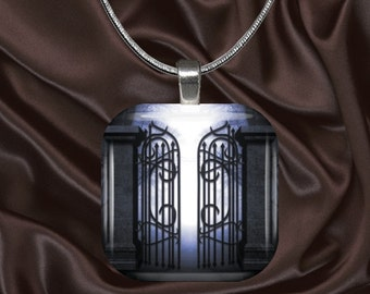 Gothic Gates Glass tile pendant