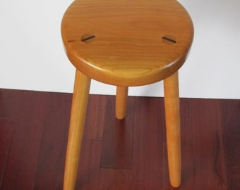 Solid wood stool, three legged stool made from Cherry, handcrafted furniture for the home or office