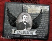 Gothic Halloween Greeting Card - Portrait of Poe Taking Flight - Nevermore