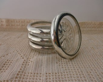 4 vintage STERLING SILVER and glass coasters- F B Rodgers Silver Co
