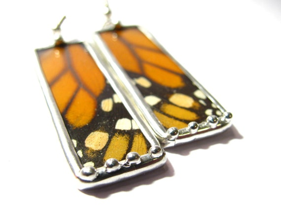 Real Butterfly Wing Earrings- Recycled Handmade Jewelry- Monarch Butterfly - Butterfly Jewelry