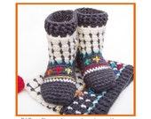 Fair Isle Sock-Boots for Kids - Crochet Pattern - Instant Download Pdf