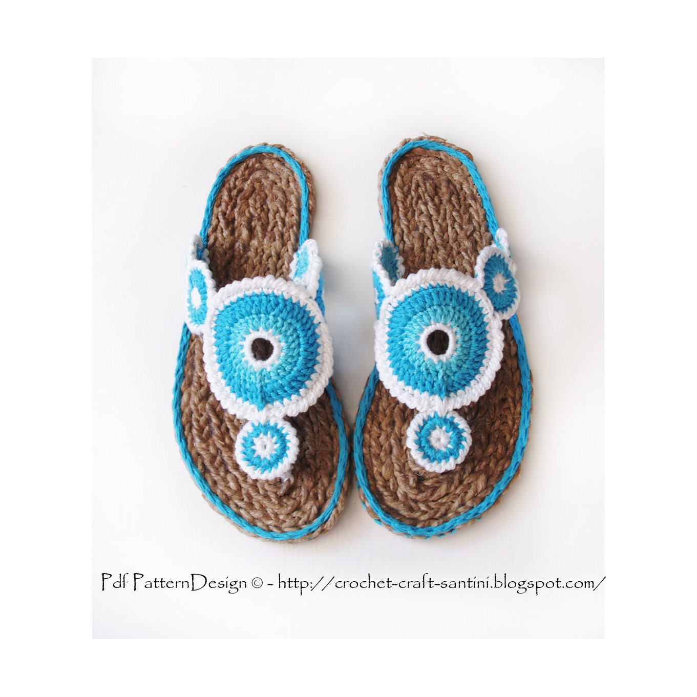 Crochet Yoyo Patterns : Yo-Yo Sandals E-Book Crochet Pattern and Cord Soles
