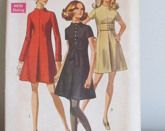 Vintage Pattern, Dress Pattern,  Simplicity Pattern, 1969 Size 10,  Sewing Supplies, Dress Making, Craft Supplies, Sewing for Women,