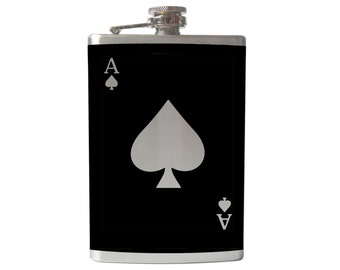 Ace of Spades Flask- alcohol, cards, poker, wedding, gamble, lucky casino- Personalized Custom - YOU pick COLOR, SIZE