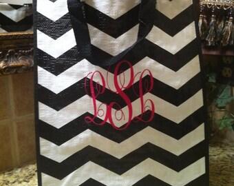 Personalized Market Tote - Teacher Gift - Hostess Gift - Grocery Tote - Chevron Tote - Black and White Tote